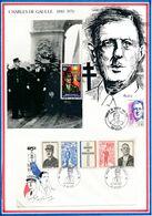 FRANCE - CARTE + ENV DE GAULLE OBLI COTONOU 15.03.71 + OBLI ANNEE GENERAL DE GAULLE BAYEUX 14.06.90 - De Gaulle (General)