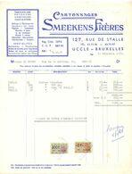 Factuur Facture - Cartonnages Smeekens Frères - Uccle Bruxelles - 1955 - Imprimerie & Papeterie