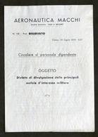 Aeronautica Macchi - Circolare - Divieto Divulgazione Notizie Militari - 1935 - Bücher, Zeitschriften, Comics