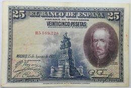 Billete 1928. 25 Pesetas. Madrid, España. Rey Alfonso XIII. Calderón De La Barca. MBC - [ 1] …-1931 : Premiers Billets (Banco De España)