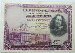 Billete 1928. 50 Pesetas. Madrid, España. Rey Alfonso XIII. Pintor Velázquez. Tercios. Rendición De Breda. Flandes. SC. - 50 Pesetas