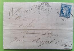 Lettre VALENCIENNES Nord Sacs Pour Sucreries Sucre Sugar GC 4078 / CERES 60 Cachet OR = QUERENAING,1873 >raffineur Paris - Marcophilie (Lettres)