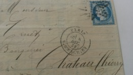 LAC De Paris Rue D'Enghien  à Château Thierry Sur N° 60 Variété Point Blanc Devant Le Nez En Date Du 8/12/1874  6e.   TB - Marcophilie (Lettres)
