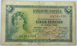Billete 1935. 5 Pesetas. República Española. España. Pre Guerra Civil. MBC - [ 2] 1931-1936 : Repubblica