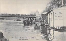 75 - PARIS 1 ° - INONDATIONS De PARIS ( Janvier 1910 ) Port St Nicolas ( Octroi De Paris ) - CPA - Seine - De Overstroming Van 1910