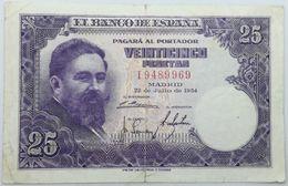 Billete 1954. 25 Pesetas. Isaac Albéniz. General Francisco Franco. España. MBC - 25 Pesetas