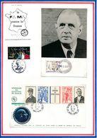 FRANCE - CARTE DE GAULLE OBLI URUGUAY CORREOS FILATELIA + ENV AVEC MEDAILLE ARGENT OBLI COLOMBEY LES 2 EGLISES... - De Gaulle (General)