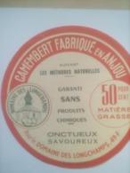 ETIQUETTE/CAMEMBERT/DOMAINE DES LONGCHAMPS/METHODES NATURELLES/GARANTI SANS PRODUITS CHIMIQUES/ANJOU - Fromage