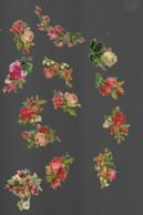 13 Petits Découpis BOUQUET FLEURS ROSES  Dos Vierge 61 - Flowers