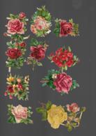 10 Découpis BOUQUET FLEURS FRUITS  8 X 6 Cm Dos Vierge 59 - Flowers