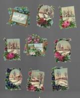 9 Petits Découpis  FLEURS AVEC PAYSAGE 5 X 4 Cm Dos Vierge 69 - Flowers