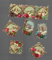 8 Petits Découpis  FLEURS AVEC PAYSAGE 5 X 4 Cm Dos Vierge 70 - Flowers