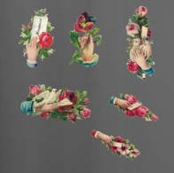 6 Petits Découpis Mains Fleurs Messages  6 X 2 Cm 64 - Flowers