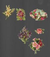 6 Découpis MAIN BOUQUET FLEURS OISEAU MOULIN 7 X 5 Cm Dos Vierge 60 - Flowers