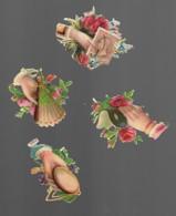 4 Découpis Mains Fleurs Masque Glace éventail Timbre Américain 6 X 5 Cm Dos Vierge 63 - Flowers