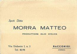 "8920"" MORRA MATTEO-PRODUTTORE OLIO D'OLIVA-RACCONIGI ""-CARTONCINO PER ORDINAZIONI ORIGINALE NON SPED. - Advertising"