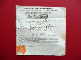 Biglietto Impresa Omnibus Gio. Montanari Gazzino Diligenza Reggio Modena 1854 - Vecchi Documenti