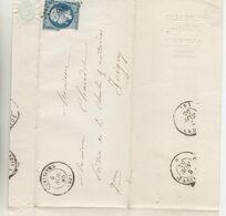 TIMBRES DE FRANCE  Marcophilie (Lettres) > 1849-1876 LSC LOZANGE PETIT CHIFFRE 680 Nr 14A DE CERISIERS LE 6/NOV/55 - Marcophilie (Lettres)
