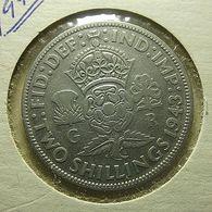 Great Britain 2 Shillings 1943 Silver - J. 1 Florin / 2 Shillings