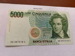 Italy Bellini Uncirculated Banknote 5000 Lira #12 - [ 2] 1946-… : Repubblica
