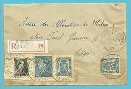 430+571+ DECOUPE ENTIER Op Brief Aangetekend Stempel ST-NICOLAS (LIEGE) 2 - 1935-1949 Small Seal Of The State