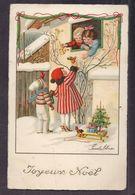 CPA Illustrée Par Pauli Ebner - Enfants S'offrant Des Cadeaux Par La Fenêtre Joyeux Noël  - Belle Illustration - Ebner, Pauli