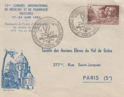 Enveloppe  FDC  1er  Jour    FRANCE   Médecine  Militaire   VAL  DE  GRACE    PARIS   1951 - FDC