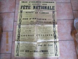 AULNOYE-AYMERIES 14 JUILLET 1956 FÊTE NATIONALE RETRAITE AUX FLAMBEAUX,FEU D'ARTIFICE,BAL,COURSE CYCLISTE 120cm/80cm - Plakate