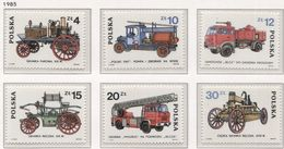 Poland 1985 Mi 2963-68, Development Of Fire Vehicles, Trucks, Full Set MHN** - Trucks