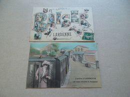 2 CARTES FANTAISIE  UN BAISER DE LARDENNE / J'ARRIVE A LARDENNE ET VOUS ENVOIE LE BONJOUR - Altri Comuni