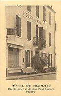 Ref Y838- Carte Publicité 11x7cms -vichy -allier - Hotel De Biarritz Rue Grangier Et Avenue President Doumer - - Advertising