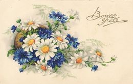 Carte Postale Fleurs Bleuet Marguerites Bonne Fête Circulée - Altri