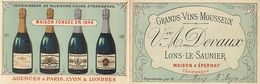 Ref Y835- Publicité 2volets 12x7,5cms Chaque Volet -alcool -vins Mousseux Devaux -lons Le Saunier -maison A Epernay - - Advertising