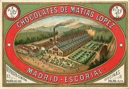Ref Y834- Publicité 12,5x8,5cms -espagne -espana -spain -chocolates De Matias Lopez Madrid Escorial -chocolats - - Advertising