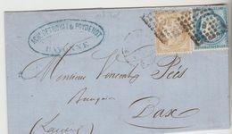 Marcophilie (Lettres) > 1849-1876 LAC SUR FACTURE DE BAYONNE LOZANGE I-B  Nr 55+60 C  LE 25/oct1875 Cote 24 - Marcophilie (Lettres)