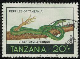 Tanzanie 1987 Oblitéré Used Reptile Serpent Green Mamba Vert Hongo SU - Tanzania (1964-...)