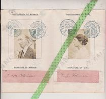 Passport Visa Stamped British Consulat Paris 1919, Signatures S;Hyde Coleman, Secretary Y.M.C.A And His Wife. - Handtekening