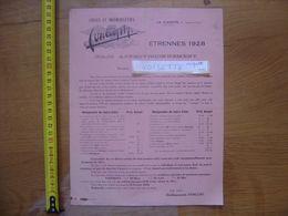 Publicite 1928 CYCLES MOTOCYCLETTES Fonlupt LA CLAYETTE Colis Approvisionnement - Advertising