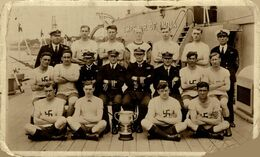 ETAT //// RPPC  HMS EMPEROR OF INDIA RACING BOATS CREW MYSELF  ROYAL MARINES   Royal Navy - Guerre