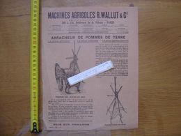 Publicite 1926 MACHINES AGRICOLES Wallut PARIS Arracheur Trieur Pommes De Terre - Advertising