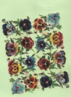 16 Petits Découpis PLAQUE FLEURS Pensées Dos Vierge  74 - Flowers