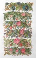 6 Longs Découpis PLAQUE ROSES PENSEES FLEURS  19 X 13 Cm  Dos Vierge 77 - Flowers