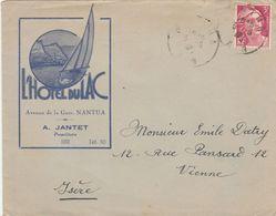 GANDON 3F SUR ENVELOPPE ILLUSTREE L HOTEL DU LA NANTUA AIN 3/8/1946 POUR VIENNE ISERE - Francia
