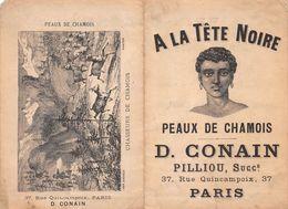 A LA TÈTE NOIRE - Peaux De Chamois -D.GONAIN Pilliou, Successeur 37,rue Quincampoix,Paris.Publicité Du XIXe - Advertising