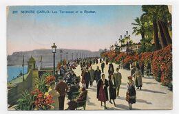 (RECTO / VERSO) MONTE CARLO - N° 212 - LES TERRASSES ET LE ROCHER - FRANCHISE MILITAIRE  - CONTOUR USE - CPA VOYAGEE - Terrassen