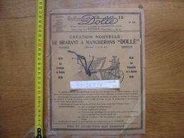 Publicite MACHINES AGRICOLES Dolle VESOUL Brabant A Mancherons Charrue - Advertising