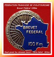 """SUPER PIN'S CYCLISME : FEDERATION FRANCAISE DE CYCLOTOURISME """" Brevet Fédéral Des 100Km"""" Email Cuivré 3X3cm - Ciclismo"""