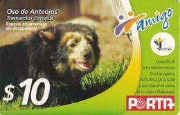 TARJETA DE ECUADOR DE PORTA DE $10 DE UN OSO DE ANTEOJOS (BEAR) - Ecuador