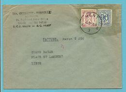 ZEGEL TYPE 711+858 DECOUPE ENTIER (uit Entier Uitgeknipt) Op Brief (Facture) Stempel GENT - 1935-1949 Small Seal Of The State