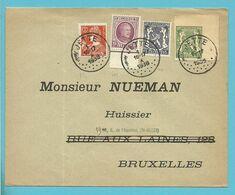195+336+421+ZEGEL TYPE 425 DECOUPE ENTIER (uit Entier Uitgeknipt) Op Brief Stempel JETTE - 1935-1949 Small Seal Of The State